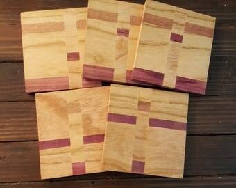 Handmade Wooden Coasters - 1 set of 5