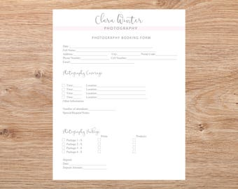 Client Booking Form -Photography Booking Form Template, Instant Download, Photography Forms, Photoshop Template for Photographers