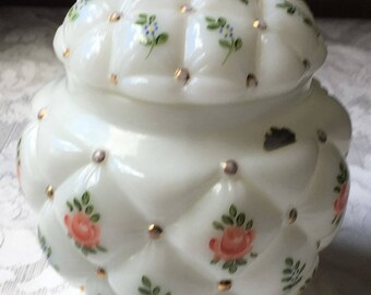 Vintage 1940 Consolidated Glass Milk Glass Tufted  Quilted Biscuit Cookie Jar