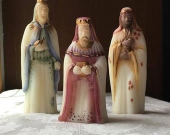Vintage Fenton 1st Edition Nativity Set 3 Wise Men Hand Painted Artist Signed