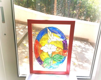 Lily stained glass panel,Lily painting,bird stained glass panel,bird painting,stained glass Suncatcher,stained glass window