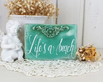 Life's a beach sign Small hand lettered signs Beach house wall art Gift for beach lover Cottage shelf sitter Beach restaurant table decor