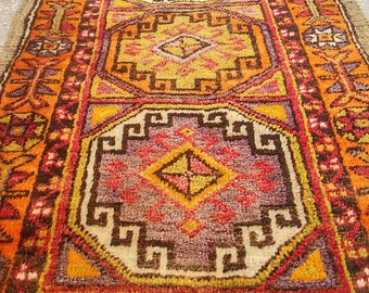 Oushak Turkish Vintage Small Carpet, Oushak Pillow  Rug, Office Decor ,Home Living,Pastel Colors,2'1x4'1''Feet,Floor Rugs, Orange Rugs,