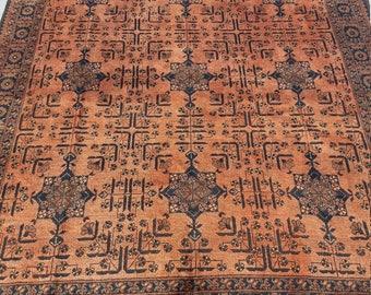 "TURKOMAN; Vintage Carpet,6'9""×10feet,Copper/Deep Blue/Cream/Brown,Very Rare! 19/20th, Century, Home Living, Rugs,Wool on Wool Handmade Rugs,"