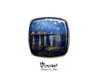 Large square ring * starry night over the Rhone * Vincent van Gogh blue cabochon