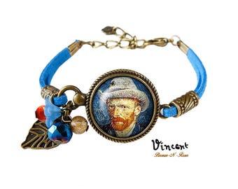 Bracelet La nuit étoilée et Vincent van Gogh cabochon bleu cadeau Noël anniversaire