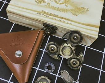 Fidget Spinner Metal, Alquar Ancient Eagle Pure Copper Tri Hand Spinner, Exclusive Professional Bearing , Luxury Woodon Gift Box Set