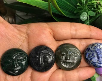 Gemstone Moonface Handmade Gift for Her Boho Gifts Gemstone Carvings dainty Gift under 10 Miniature Collectibles Jewelry Making