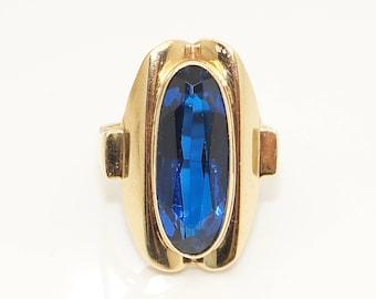 Vintage 9Ct Gold Collet Set Large Blue Spinel Dress Ring, Size L 1/2