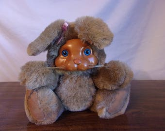 Vintage Robert Raikes Wood Faced Bunny - Ashley by Applause 1988