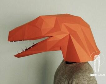 Velociraptor Dinosaur Mask - make your own polygon mask