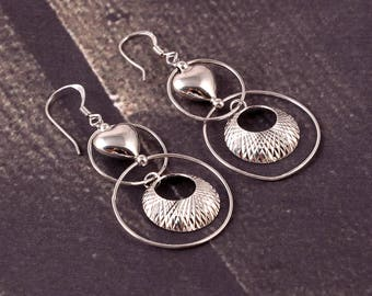 Awesome Heart Style Earring 92.5 Sterling Silver with Beautiful Look 4.67 Gms. Length 4.50 CM. Code MGJ 119