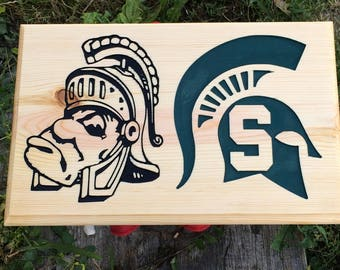 MICHIGAN STATE SPARTANS Engraved Wood Wall Art
