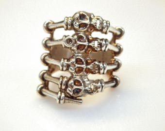 Sterling Silver Multi-Skull and Bones Ring