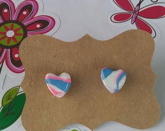 Polymer Clay, White/blue/pink, Heart, Stud Earrings, Resin