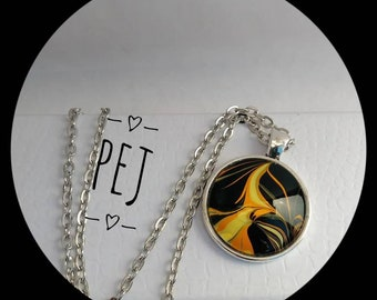 Orange/black/yellow,paintpour,cabochon,pendant,necklace,giftsforher,jewelry,glass