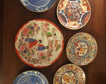 Six Small Oriental Handcrafted Plates (6)