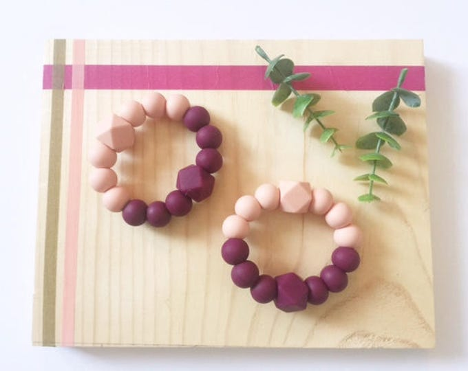 Featured listing image: Peach and Plum Silicone Teething Ring