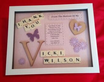 THANK YOU FEMALE personalised keepsake gift box frame childminder friend mentor lecturer nurses godmother carer etc