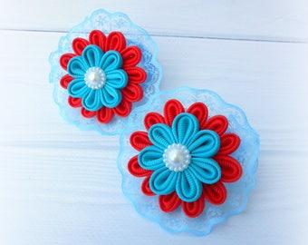 Set of 2 ponytails holders Red blue kanzashi flower Lace ponytails holders Origami fabric flower Tsumami kanzashi Japanese technique