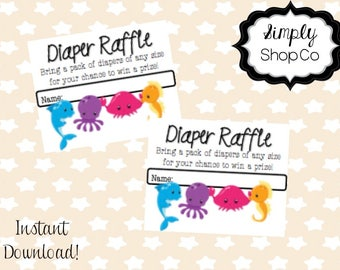 Ocean theme baby shower diaper raffle, tickets, printable, you print, instant download, raffle ticket template, baby, gender neutral.