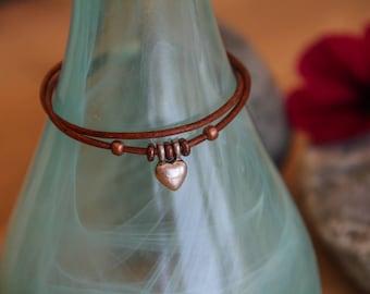 Double Leather Heart Bracelet