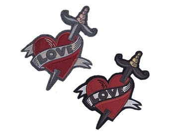 Sew on Patches Heart with Sword, Fashion Patches,  Patches for Jackets, Custom Patches Embroidered Applique Patch, Sew on Patches for Jean