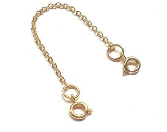 2 Gold Tone Dainty Safety Chain Necklace Bracelet Spring Clasp 1/2/3/4/5/6/7/8/9/10 inch