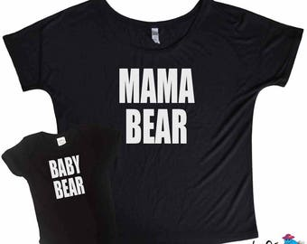 Mama Bear Baby Bear Matching - Mama Bear Slouchy Tee - Baby Bear Onesie - Fun Mom Shirts - Matching Mother and Baby - Proud Mom Matching Tee
