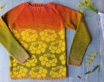 Jacquard sweater hand-knit Lemon Curd