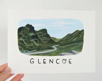 Original Glencoe painting, A5, postcard-style, Scottish art, Scottish gifts, Scottish cards,  Scottish Highlands