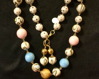 Leopard  skin  animal leopard  bead graduated necklace  pastel handcrafted set