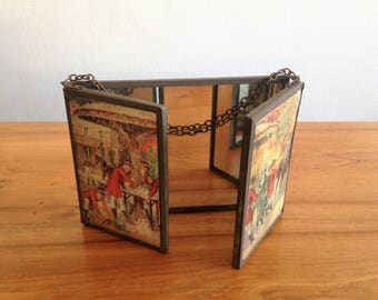 Mirror triptych - English bourgeois scenes - late 19th, early 20th century - vintage