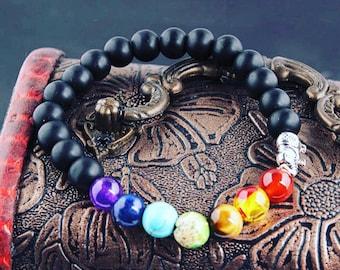 Chakra bracelet, 7 stone chakra, 7 stone chakra beaded bracelet, lucky elephant charm, buddha bracelet, reiki bracelet,beaded bracelet,