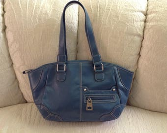 Nine West Blue Tote With Contrast Stitching