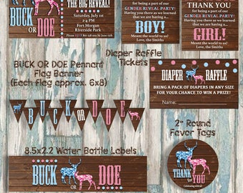 Buck or Doe Party Package - Gender Reveal Party Decorations - Printable Party Package - Camouflage