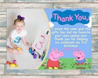 Peppa Pig Thank You - George Pig Thank You Card - Birthday Thank You - Jump in muddy puddles