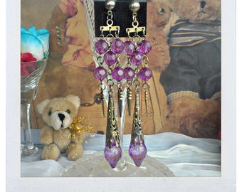 Vintage Violet Bijouterie Earrings from 90s
