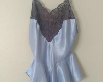 Lavender Baby Doll Romper / Vintage Lingerie
