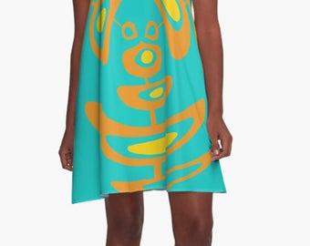 Retro Dress, Womens Gift, Dress, Summer Dress, Party Dress, , XL Dress, Retro, Mini Dress, Mod Dress, Blue Dress, Casual Dress,