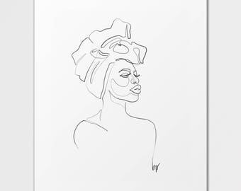 Imani - Fine Art Print of One Single Line Illustration
