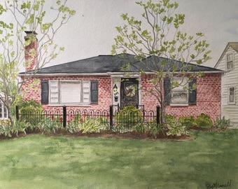 Custom House Painting-Watercolor Houes Portrait