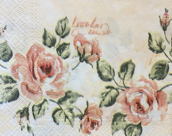 Decoupage Paper Napkins x4 Pink Roses for Decoupage Craft Scrapbooking 023