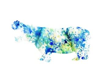 Watercolor Hippo Print