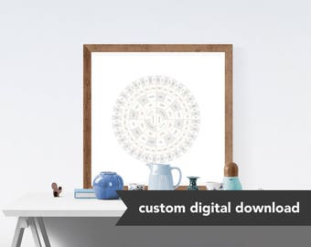 Custom Genealogy Family Tree Chart - Frosted Diamond Circle (Subtle Natural Pastel, either Circle Genealogy Chart or Fan Chart)