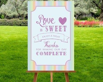 A3 Pastel Bunting Sweet Cart Sign