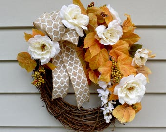Fall Autumn Rose Wreaths For Front Door Wreaths Fall Door Wreahs Fall Decoration Sunflower Wreaths Front Door Decor Fall Thanksgiving Gift