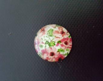 Glass cameos cabochons bright flower
