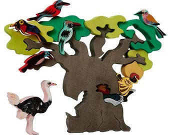 Wooden puzzle African Birds, Waldorf, Montessori, Educational toys, Wooden figure, Learning Toys, Wooden toy, Organic toy, Autism toys