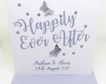 Personalised Handmade Wedding Day Card - Sparkly Happily Ever After - Silver